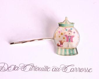 Carousel, bear and squirrel hair clip