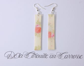 Earrings flowers, beige and coral, rectangular shape