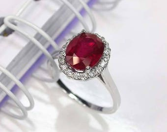 3.8 ct Natural red ruby ring sterling silver wedding ring.