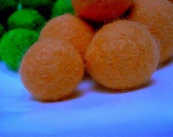 felted wool bead, Pink salmon, Merino, 20 mm