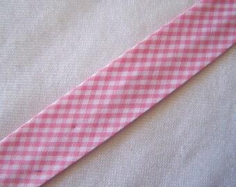 Bias pink gingham, width 40/20 mm (Bi-19046)