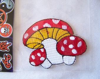 Coat sewing, decorative, red mushrooms (E-003)