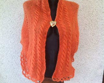 Very covering soft warm orange mohair shawl