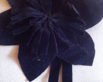 Sewing, Black Suede flower brooch