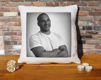 Vin Diesel Pillow Cushion - 16x16in - White