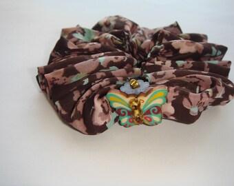 Darling child print fabric hair flower