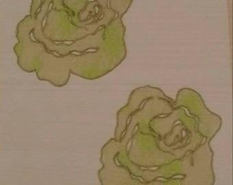 Flower textile Decoration sticker repositionable, set of 2