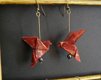 Origami paper doves earrings red gold and purple