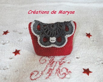 Small pouch, wallet, cardholder crocheted red and gray