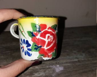 Unique vintage Tiny Enamel Cup With Floral Design,Kitchen,Dining,Mug,Cup,Rose,Flowers