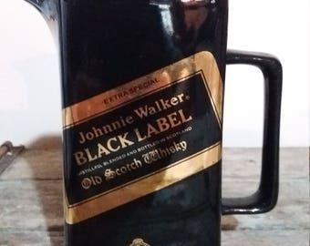 Vintage 1970's Johnnie Walker BLACK LABEL Ceramic Water Jug,Black,Gold,Bar Ware, Gift,1970's,Vintage Bar Ware