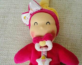"Doll ""titpoupidou"" Binky blanket magnetic bow fuschia and yellow on order"