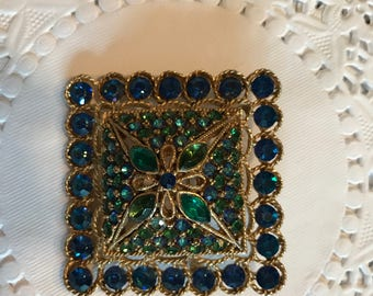 SALE !Brooch Vintage Blue/Green Coro Signed