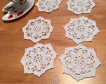 Art crocheted coasters