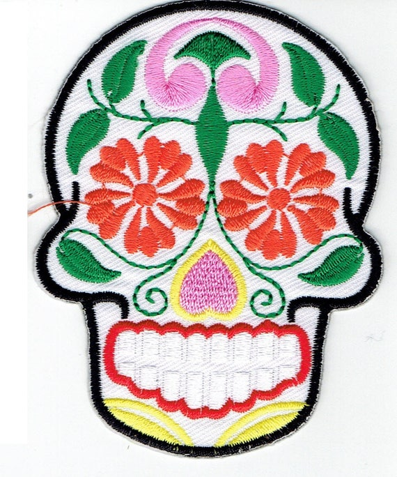 """Patch fusible trend pattern """"Mexican skull"""""""