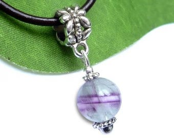 Silver plated sphere pendant - fluorite