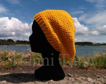 """Seaside"" hat around 56 cm Crochet yellow/plum color acrylic"