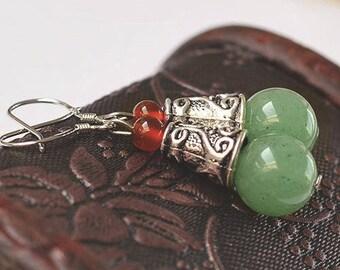 925 Silver hook earrings and aventurine