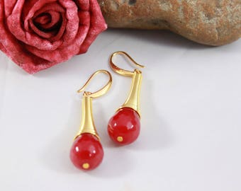 Gold and Red Agate stone, 55 mm Pearl Earrings
