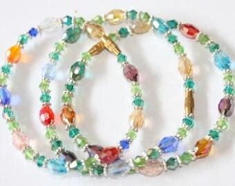 Bracelet Bohemian crystal, green, with screw clasp, 190 mm