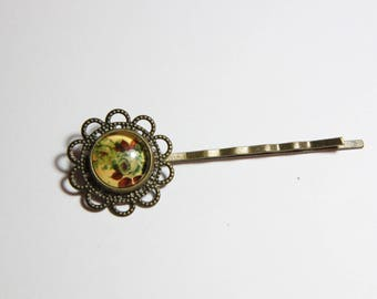 cabochon, Glas and bronze glass Bobby pin