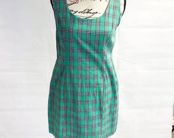 Green check pinafore slip dress