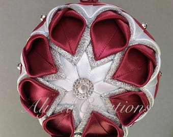 Elegant Quilted Flower Ball Christmas Ornament