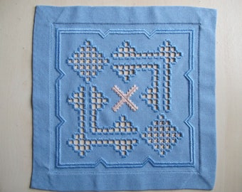 Blue Square doily embroidered in Hardanger