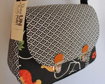purse fabric black rococo style 2