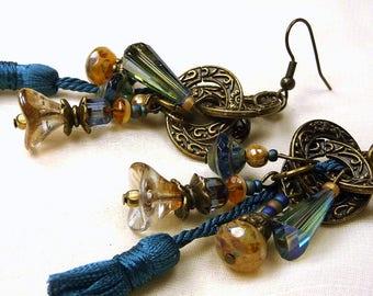 Blue earrings triple bronze rings, tassel, Crystal