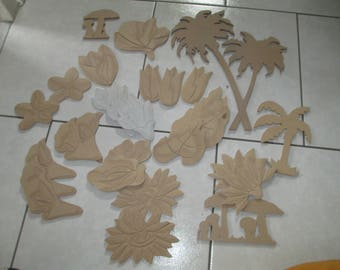 set of wooden flowers in various shapes
