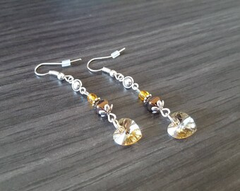 Yellow Swarovski heart Earrings