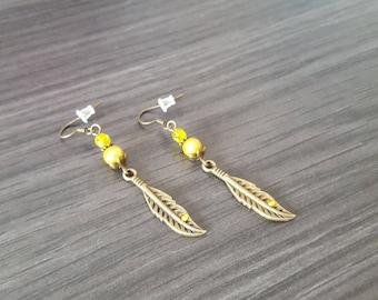Rhinestone yellow feather Earrings