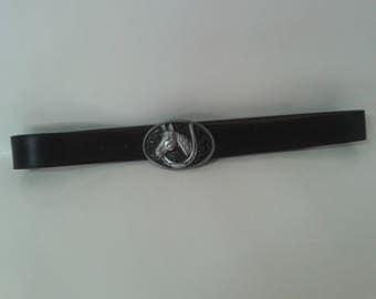 Black leather western belt