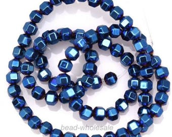set of 20 beads cube hematite - blue