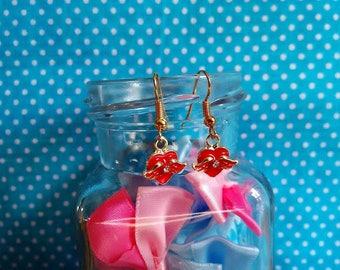 Nice pair of hoop earrings gold plated winged heart