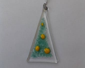 Fused glass Christmas tree hanging decoration