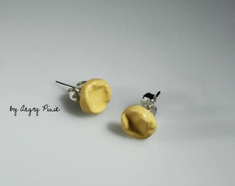 Yellow ceramic - ear studs earrings