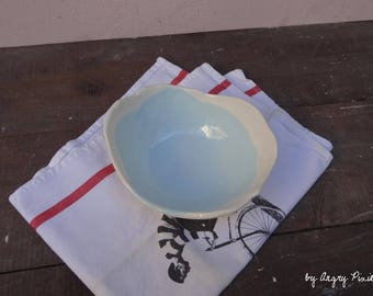 Salad Bowl or fruit bowl ceramic handmade pale blue and white