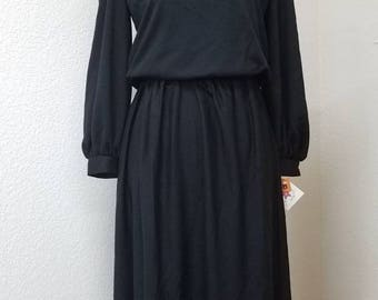 70s deadstock comfy black dress,  size 8 and 10