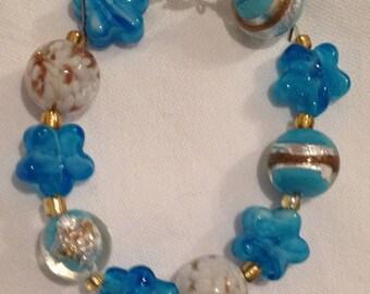 Turquoise blue glass beaded bracelet, white, gold