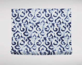 blue ikat roman shade white from pakistan middle east cordless childsafe custom lengths widths various blues