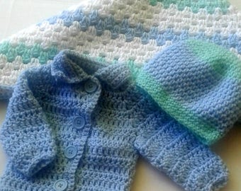 Baby boy sweater/baby boy beanie/baby boy blanket set