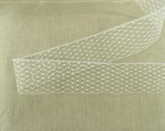 SATIN ribbon of calais - white tulle