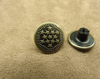 DENIM button - 17 mm - bronze star