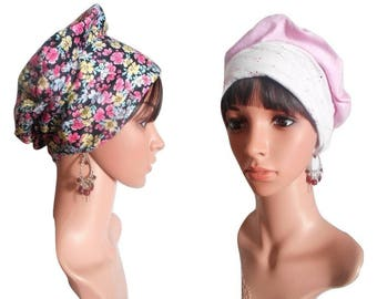 """Flora"" REVERSIBLE chemo Cap & its removable fabric flower"