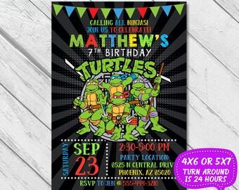 Ninja Turtle Invitation, Ninja Turtle Birthday Invitation, Ninja Invitation, Ninja Birthday, Ninja Party, Teenage Mutant Ninja Turtles, TMNT
