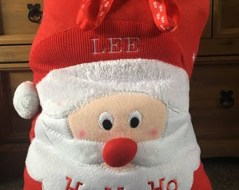 Personalised plush santa sack, Christmas bag, personalised with a name.