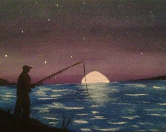 Night time fishing silhouette