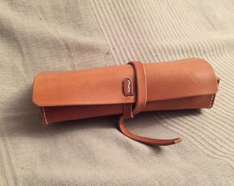 Bag, brown leather glasses case